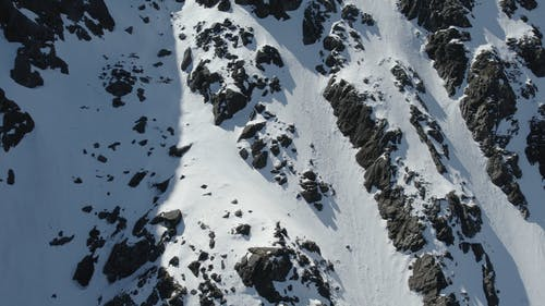 An Aerial Footage of a Snow Capped Mountain