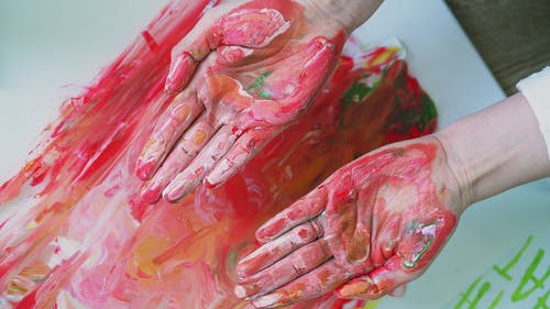 A Person's Painted Hands