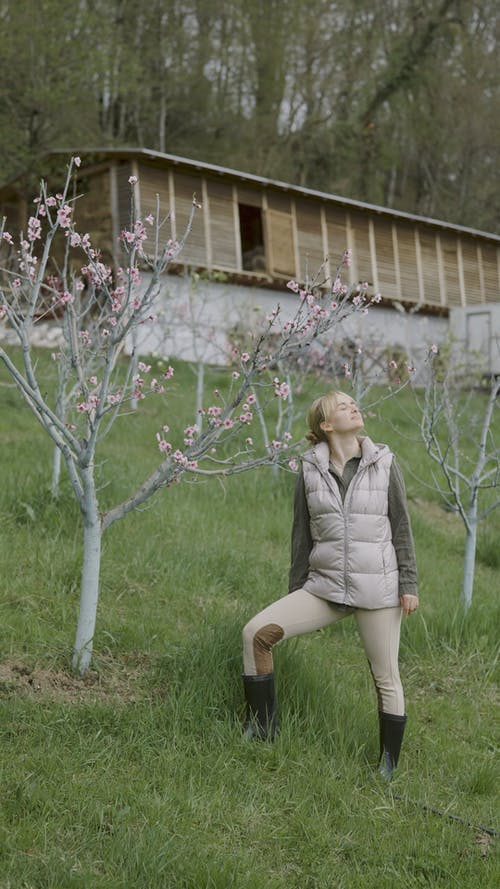 A Woman Touching a Cherry Blossom Tree