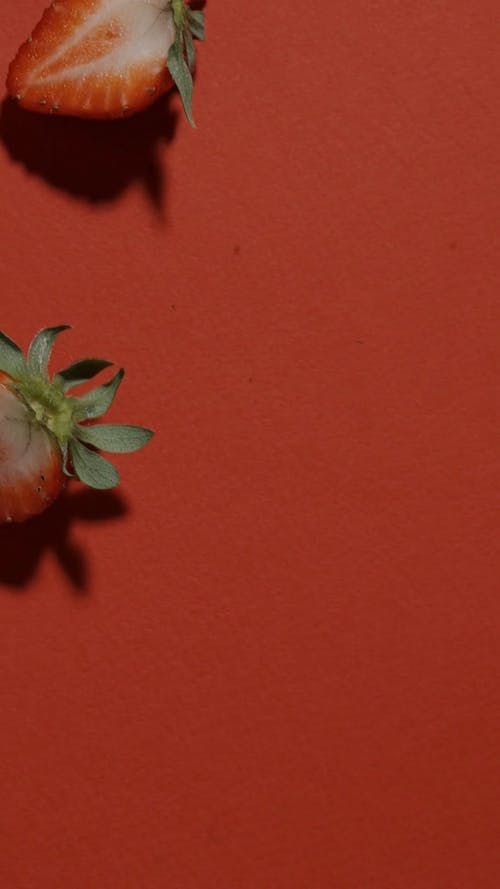 Close-up Video of a Slice Strawberry