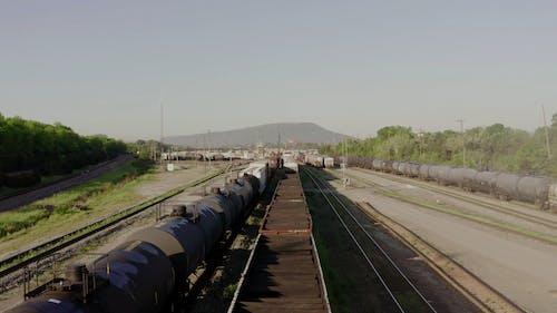 An Aerial Footage of a Rail Yard