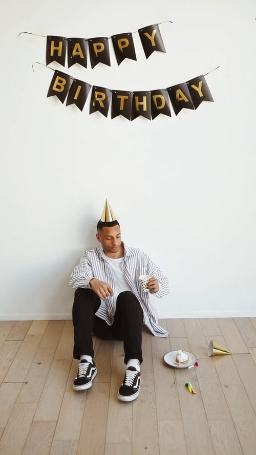 Man Celebrating His Birthday Alone