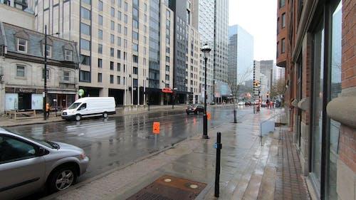Modern City Centre Under Rain
