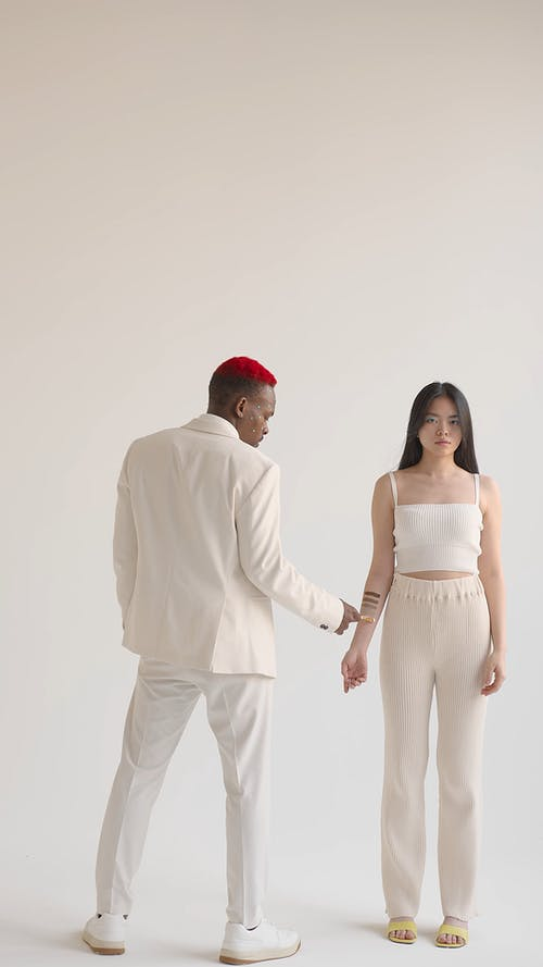 Man and Woman in Clear Color Palette Photoshoot