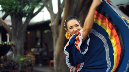 A Woman Dancing In Traditional China Poblana Dress