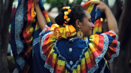 A Woman Dancing In Traditional Mexican Dress