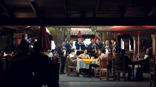 A Musical Band Entertaining Guests In The Rstaurant