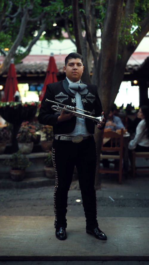 A Man Playing The Trumpet
