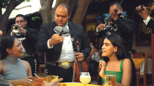 A Musical Band Entertaining Customers In a Restaurant