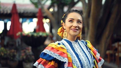 A Woman Wearing China Poblana Dress