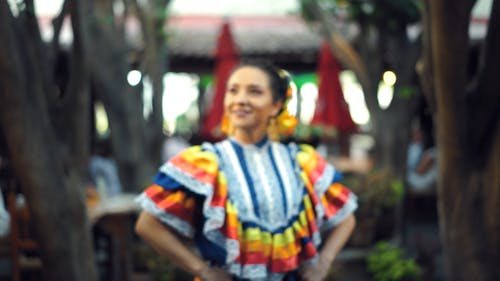 A Woman In A Traditional Mexican Dress