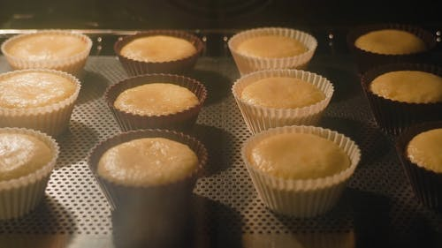 Time-Lapse Video of a Cupcakes Inside an Oven