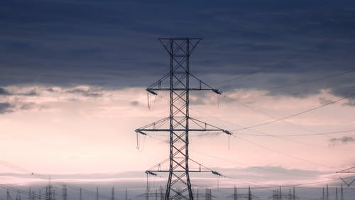 Time Lapse of Transmission Tower and Clouds