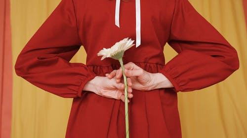 Female in Red Dress Holding a Flower Behind Her Back