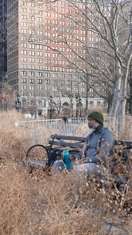 Man Sitting on Bench at Park