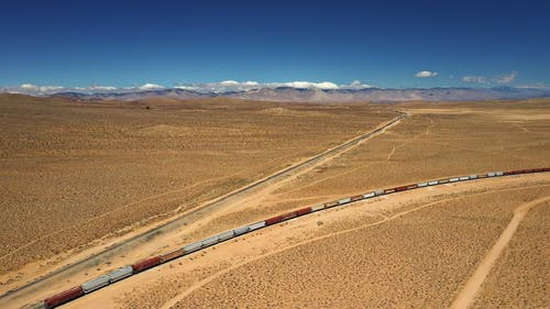 Drone Footage of a Cargo Train on the Death Valley Railroad