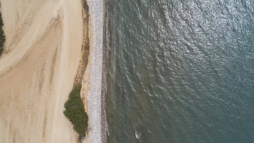 Top View of Sand Beach and Sea