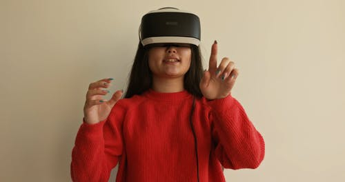 A Woman Wearing Virtual Reality Headset