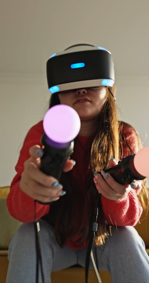 Female Playing on Virtual Reality