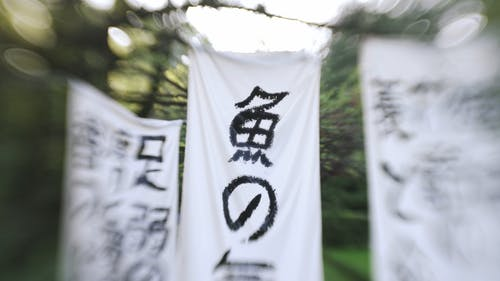 White Banners With Japanese Calligraphy