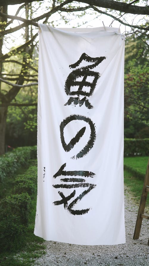 Japanese Characters Written on a Fabric