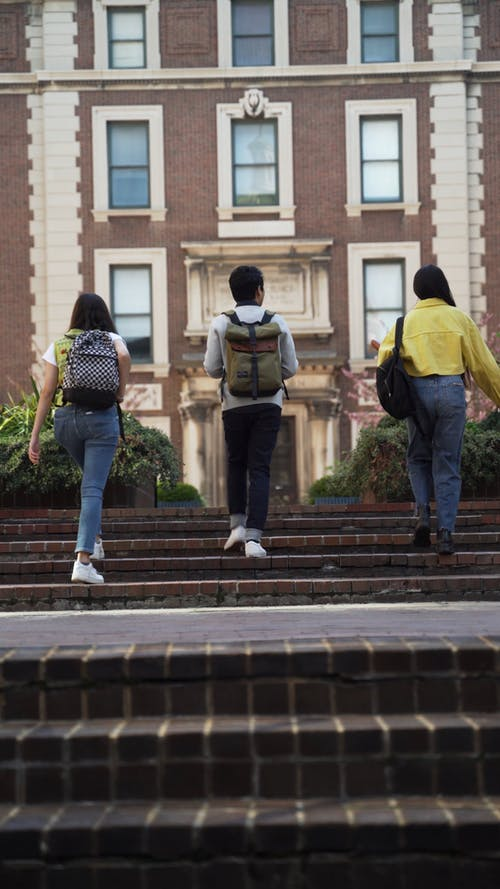 friends going Inside the University Campus