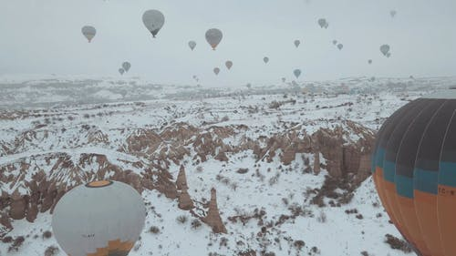 Drone Shot of Hot Air Balloons Flying in Göreme