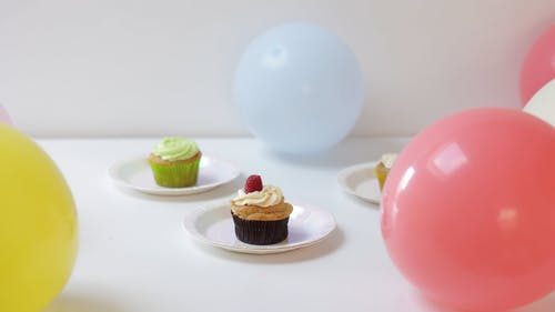 Cupcakes on a Plate with Balloons