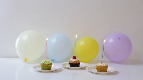 Cupcakes and Balloons on the Table