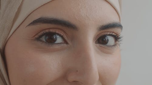 An Extreme Close Up of a Woman