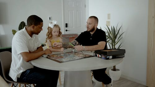 A Family Playing a Board Game