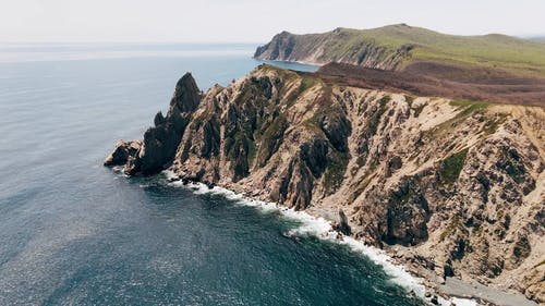 Aerial View of a Cliff and the Sea
