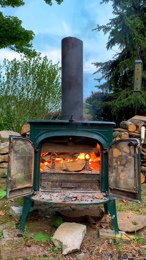 A Vintage Stove in an Outdoor Area