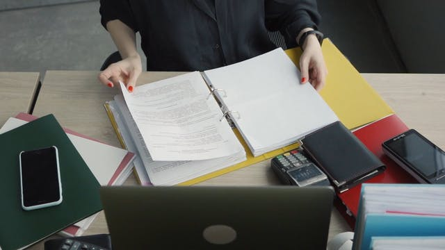 Person Looking At Documents