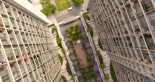 Birds Eye View of a High Rise Buildings