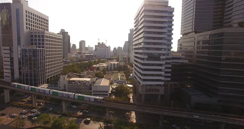 Drone Footage of High Rise Buildings and Trains in Railway
