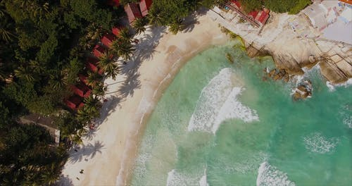 Drone Footage of Beach Waves in an Island