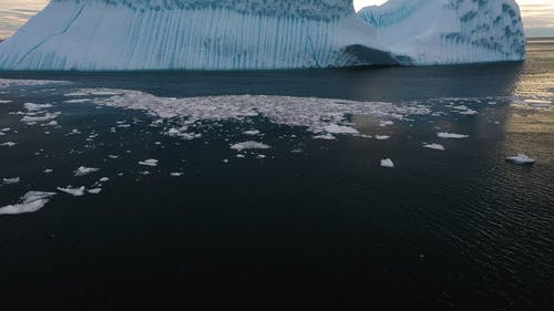 A View of Floating Giant Glaciers