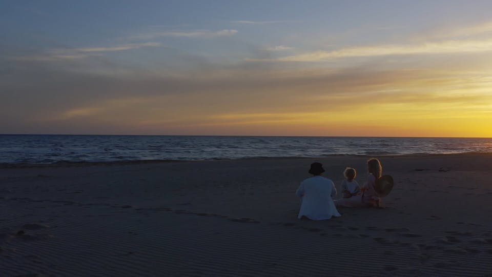 Drone Footage Of A Family Sitting On A Beach