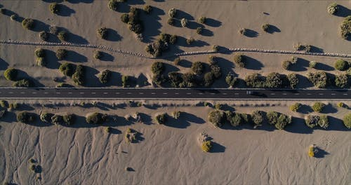 Drone Shot of a Road in a Desert