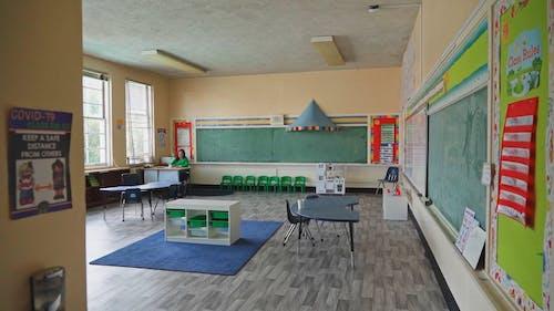 A Teacher Working in an Empty Classroom