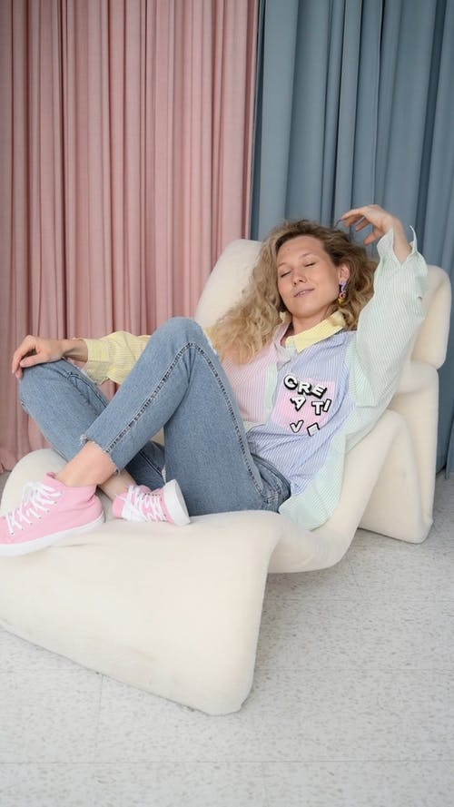 A Woman Sitting Comfortably