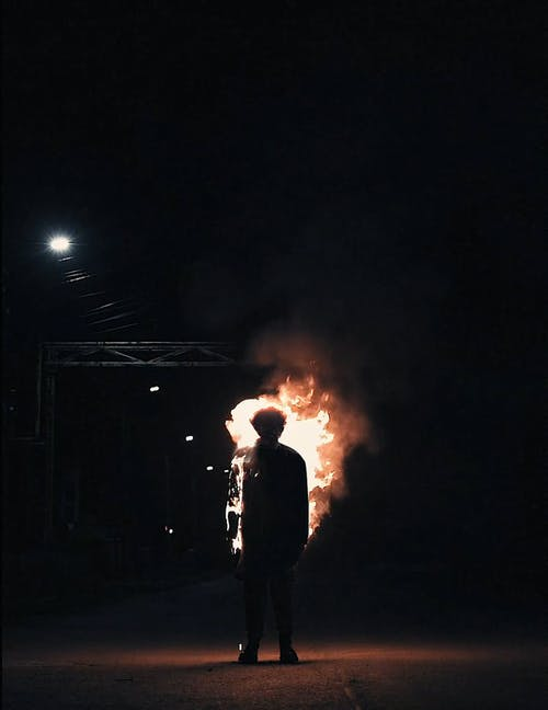A Standing Dummy on Fire