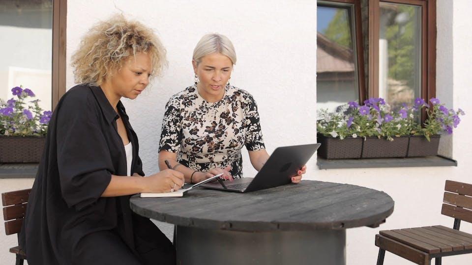 Elderly Women Working Together