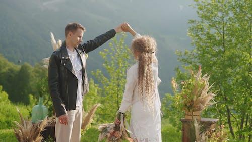 Romantic Newlyweds Dancing