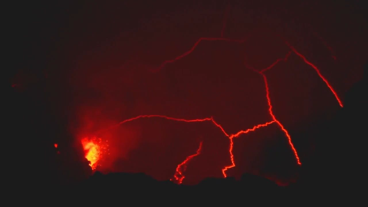 Lava Erupting From the Crater of a Volcano