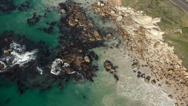 Aerial Shot Of A Rocky Shore