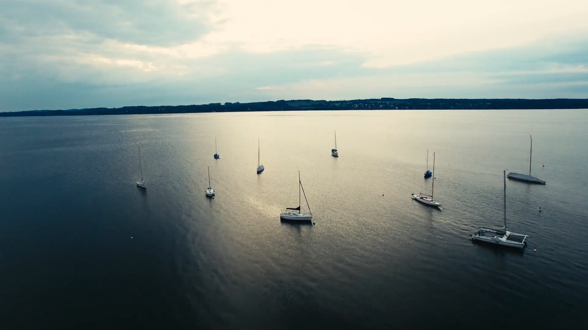 Aerial View of Sailboats on Body of Water