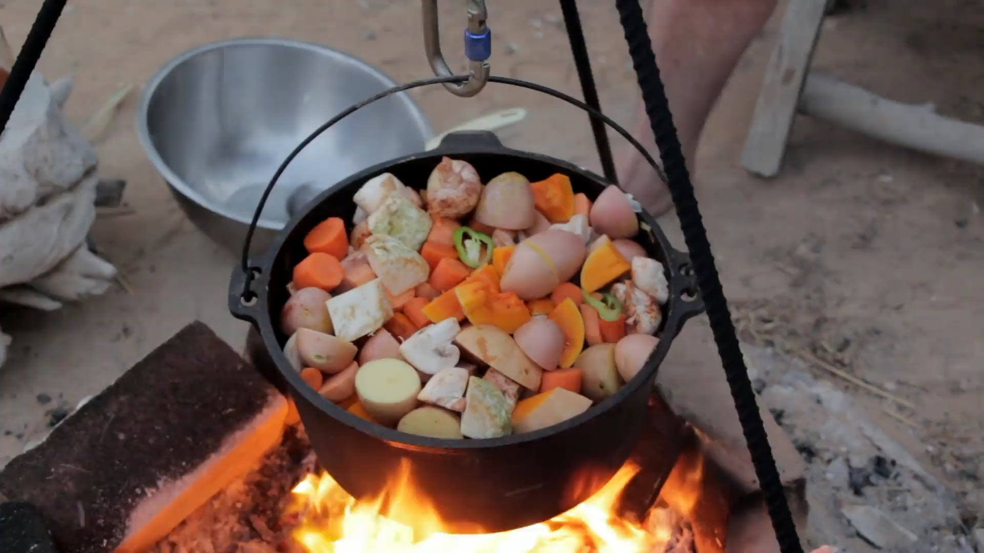 Cooking Vegetables with Wine in a Pot