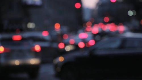 Video Sfocato Di Automobili Bloccate Nel Traffico